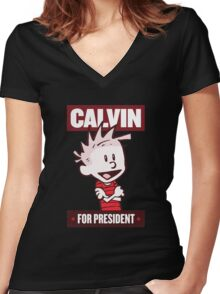 Calvin For President Women's Fitted V-Neck T-Shirt
