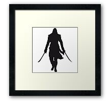 Assassin's Creed edward kenway silhouette black Framed Print