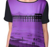 Purple Beach Scene Chiffon Top