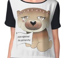 Pups Against The Patriarchy Feminism Canine Print Chiffon Top