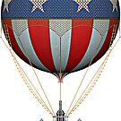 Steampunk Stars and Stripes Vintage Hot Air Balloon by Steve Crompton