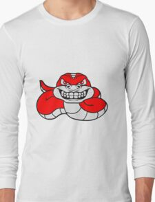 grin angry dangerous snake constrictor comic cartoon design Long Sleeve T-Shirt