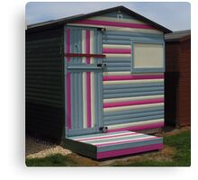 Pink, White & Grey Beach Hut Canvas Print