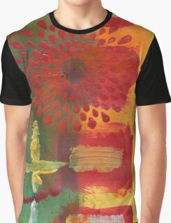 Red Spray Flower Graphic T-Shirt