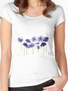 backlit pansy petals on a lightbox  Women's Fitted Scoop T-Shirt