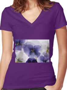 backlit pansy petals on a lightbox  Women's Fitted V-Neck T-Shirt
