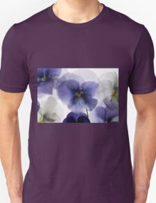 backlit pansy petals on a lightbox  Unisex T-Shirt