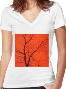 Fire Tree Women's Fitted V-Neck T-Shirt