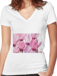 backlit violet petals (Cyclamen) on a lightbox Women's Fitted V-Neck T-Shirt