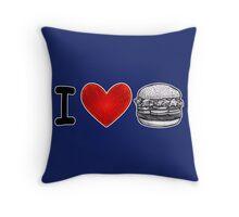 I LOVE BURGERS Black Throw Pillow