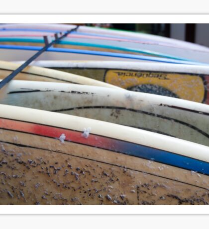 stack of Surfboards on the beach. Photographed in El tunco, El Salvador  Sticker