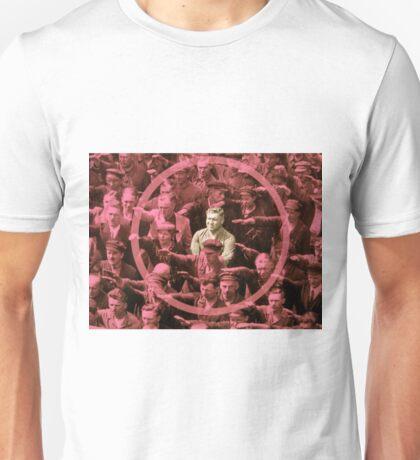 Closeup of the Hero August Landmesser Unisex T-Shirt