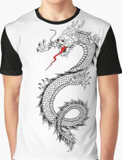 Dragon, Snake, Oriental, Far East, Tattoo, on White Graphic T-Shirt