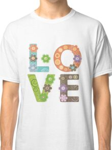 Love Flowers Hippie Style Illustration Classic T-Shirt