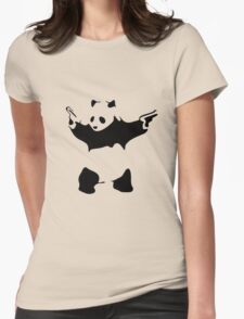 Funny Gangster Panda Womens Fitted T-Shirt