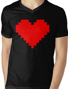 Pixel Heart Mens V-Neck T-Shirt