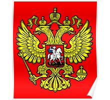RUSSIA, RUSSIAN, Coat of Arms of the Russian Federation, ON red Poster