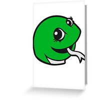 face head sweet little cute baby child snake comic cartoon girl Greeting Card