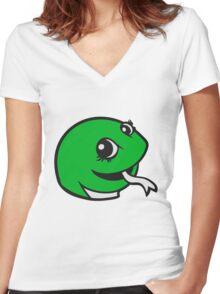 face head sweet little cute baby child snake comic cartoon girl Women's Fitted V-Neck T-Shirt