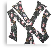 New York Yankees Floral 2 FanArt Canvas Print