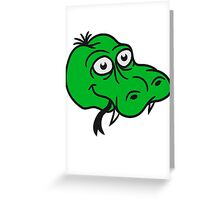 face head snake funny comic cartoon Greeting Card