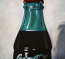 Vintage Coca-Cola Bottle realistic painting by LindaAppleArt