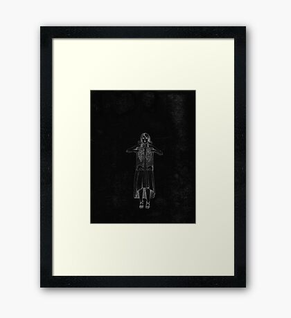 Black Exposure , Girl with Xray in dress and heels with ribcage Framed Print
