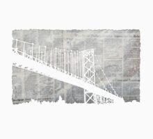Paper City , Newspaper Bridge Collage,  cutout black white print illustration  One Piece - Short Sleeve