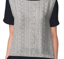 Cable Knit Chiffon Top
