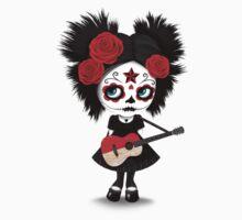 Sugar Skull Girl Playing Indonesian Flag Guitar Baby Tee