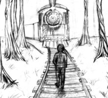 Old Railroad , Black and White boy and train in woods with moon landscape creepy Illustration Sticker