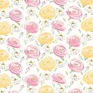 Princess Cats and Peonies Pattern by Ryan Conners