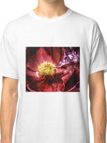 vivid red flower macro with pollen Classic T-Shirt