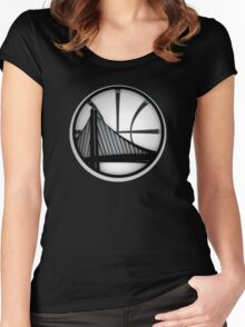 golden state warriors black Women's Fitted Scoop T-Shirt
