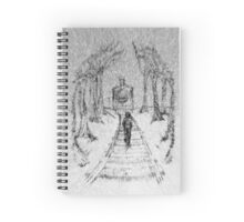 Wooden Railway , Pencil illustration railroad train tracks in woods, Black & White drawing Landscape Nature Surreal Scene Spiral Notebook