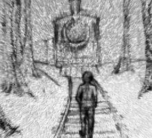 Wooden Railway , Pencil illustration railroad train tracks in woods, Black & White drawing Landscape Nature Surreal Scene Sticker
