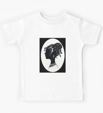 Vintage Fashion Silhouette, Old Fashioned Vanity , Beauty black white Kids Tee