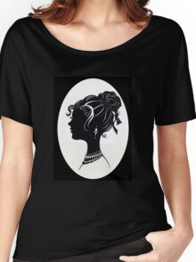 Vintage Fashion Silhouette, Old Fashioned Vanity , Beauty black white Women's Relaxed Fit T-Shirt