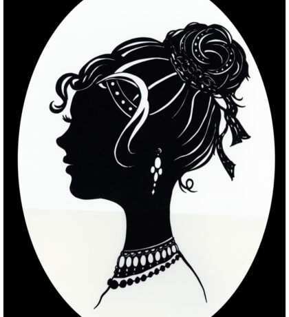 Vintage Fashion Silhouette, Old Fashioned Vanity , Beauty black white Sticker