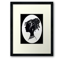 Vintage Fashion Silhouette, Old Fashioned Vanity , Beauty black white Framed Print