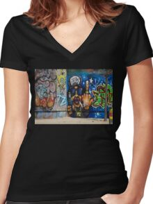 Cool Graffiti Artist Women's Fitted V-Neck T-Shirt
