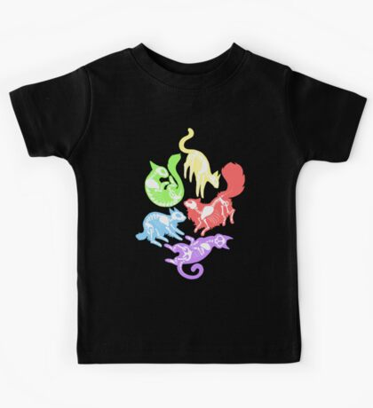 Creepy Kitties in Color Kids Tee