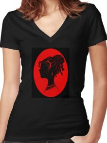Red Vanity , Fashion Goth Silhouette Beauty Paper Cutout Fashion illustration Lady Women's Fitted V-Neck T-Shirt