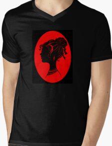 Red Vanity , Fashion Goth Silhouette Beauty Paper Cutout Fashion illustration Lady Mens V-Neck T-Shirt