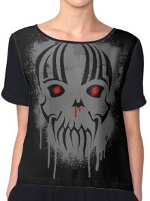 Bleeding Skull - Modern Skull with Blood and Grunge Texture Chiffon Top