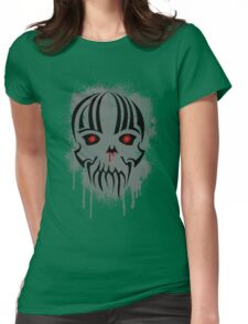 Bleeding Skull - Modern Skull with Blood and Grunge Texture Womens Fitted T-Shirt