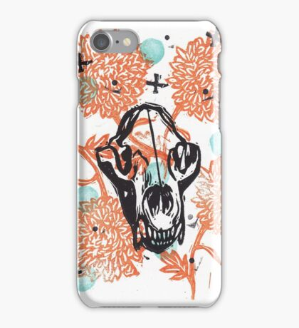 Bear Skull and Chrysanthemums iPhone Case/Skin