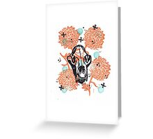 Bear Skull and Chrysanthemums Greeting Card