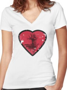 Love Nature - Grunge Tree and Heart - Earth Friendly T Shirt Women's Fitted V-Neck T-Shirt