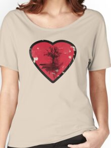 Love Nature - Grunge Tree and Heart - Earth Friendly T Shirt Women's Relaxed Fit T-Shirt